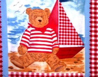 Teddy Bear Sailboat Baby Toddler Fleece Blanket