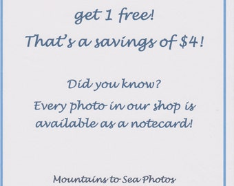 Buy 3 get 1 free, blank greeting cards, photo notecards, set of 4 cards, discount savings, special deal, your choice sale, buy more and save