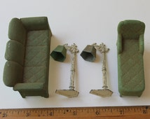 "1930s Tootsie Dollhouse Living Room Set/ Vintage Green Metal Toy/ 1"" scale"