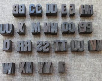 """Vintage 1"""" Letterpress Letters, Vintage Wooden Letterpress Numbers, Vintage Wood Block Letters, sold individually"""