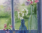 Phlox Spring Flowers In Colored Bottles of Shed Window Original Oil Painting