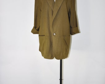 90s oversize blazer / army green jacket / long linen blazer / 1990s slouchy blazer