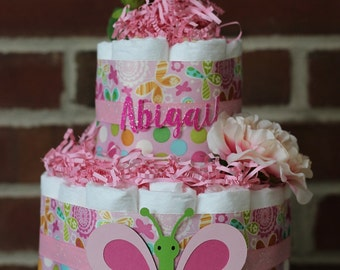 Mini 2 Tier Pink Butterfly and Flower Diaper Cake, Butterfly Baby Shower, Girl, Pink and Green Butterfly, Baby Shower Centerpiece, Flowers
