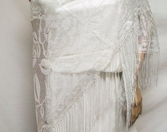 Lace shawl,White ,Silver, Shawl ,Fringed, Floral Wrap,roses