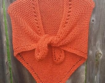 Orange shawl burnt orange shawl orange wrap burnt orange wrap knit shawl orange shrug Knit Wrap boho shawl Longhorns Soft!  (0515IM)