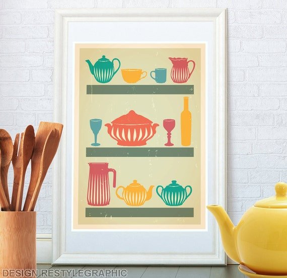 Art Prints For Kitchen Wall: Kitchen Print Retro Poster Kitchen Wall Art Wife By