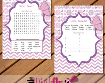 Pink And Purple Butterfly Baby Shower Games, Baby Shower Word Search, Baby  Shower Word