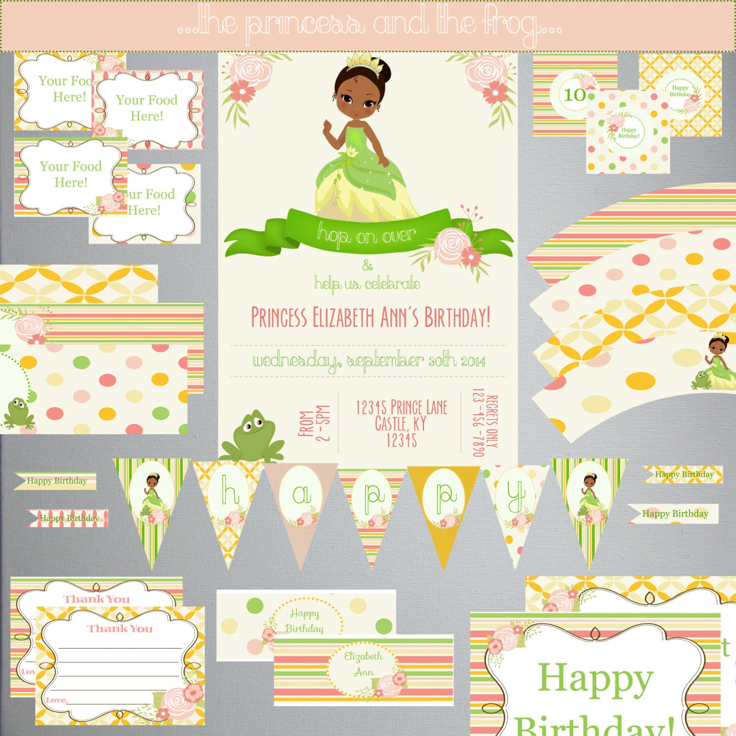 Princess And The Frog BIRTHDAY Set-DIY By PaperWillowDesigns
