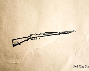 Rifle #3 Rubber Stamp - 2 x 2 inches