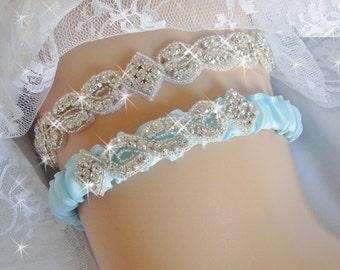 Baby Blue Wedding Garter Set Light Bridal Belts Something