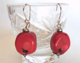 Coral and 925 Sterling Silver earrings