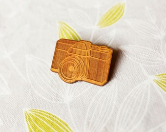 Camera Brooch - Illustrated Vintage Style Design - Laser Cut - Cherry Timber