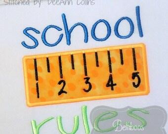 School Applique Design - Back to School Applique - School Embroidery Design - Back to School Embroidery Design