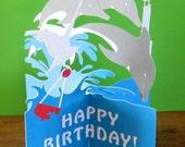 Dolphin, Birthday Card, Birthday, Personalized, Personalised, Pop Up Card, Popup Card, Greeting Card, Greeting Cards, Funny Birthday Card