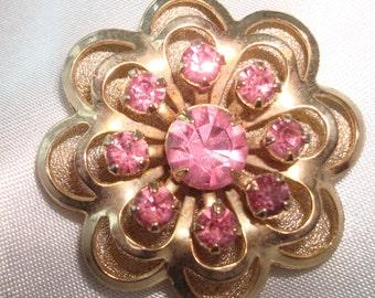 Vintage Pink Rhinestone and Gold Tone Flower Brooch - Circa 1950's - Sweet!!