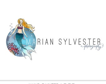 CLEARANCE - Watercolor Logo - Mermaid Watermark Business Logo - Children, Drawn, Nature, Simple Design, Ocean, Sea, Nautical theme