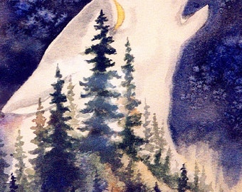 ACEO -LIMITED EDITION Print; Wolf, run of 10,nature, wolf howling, wilderness, miniature art, print of watercolor, native