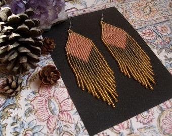 Coral Gleam...Beaded Fringe Earrings Native American Inspired