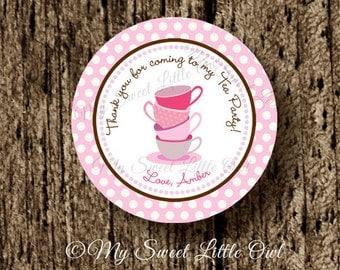 Tea Party label - tea  Cupcake Topper - tea party favor Tags - tea birthday party - tea baby shower - tea party printable