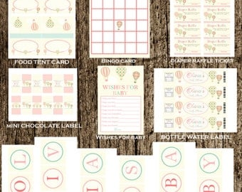 Hot air balloon Printable Party package - hot air balloon birthday - hot air balloon party printable -SUPER DEAL!