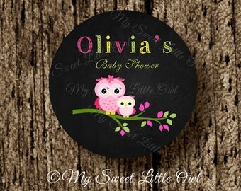 Owl thank you tag - owl label - chalkboard owl - owl sticker -owl printable - pink owl birthday - owl baby shower - owl cupcake topper