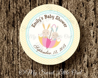 Bunny label - bunny sticker - Bunny Cupcake Topper - bunny Baby shower - bunny birthday party - bunny printable - yellow bunny thank you tag