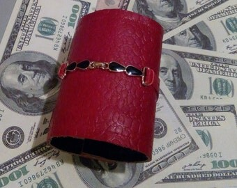 Leather Woman Wrist wallet Travel Bracelet  wallet  Wrist band  Travel Wallet cuff  Red Purse Wristlet wallet