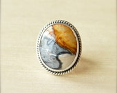 Black, Tan, and Sand Petrified Sequoia Wood Ring