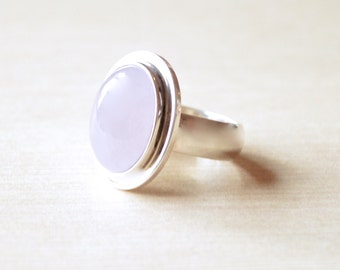 Lavender Purple Jade Ring // Jade Jewelry // Sterling Silver // Village Silversmith