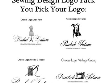 Custom Premade Sewing Logo Design Pack and Watermark - You Pick Your Design