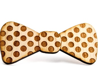 Wooden Bow Tie in Polka Dot Print for Boys or Men -Little Hipster Bow Tie, Unique Boys Formal Wear, Kids Preppy Bow ties [BT-105]