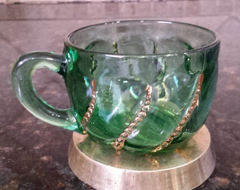 EAPG - Duncan's Beaded Swirl - Cup - Emerald Green and gold c.1890