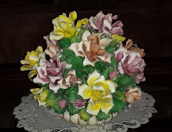 Capodimonte large floral centerpiece