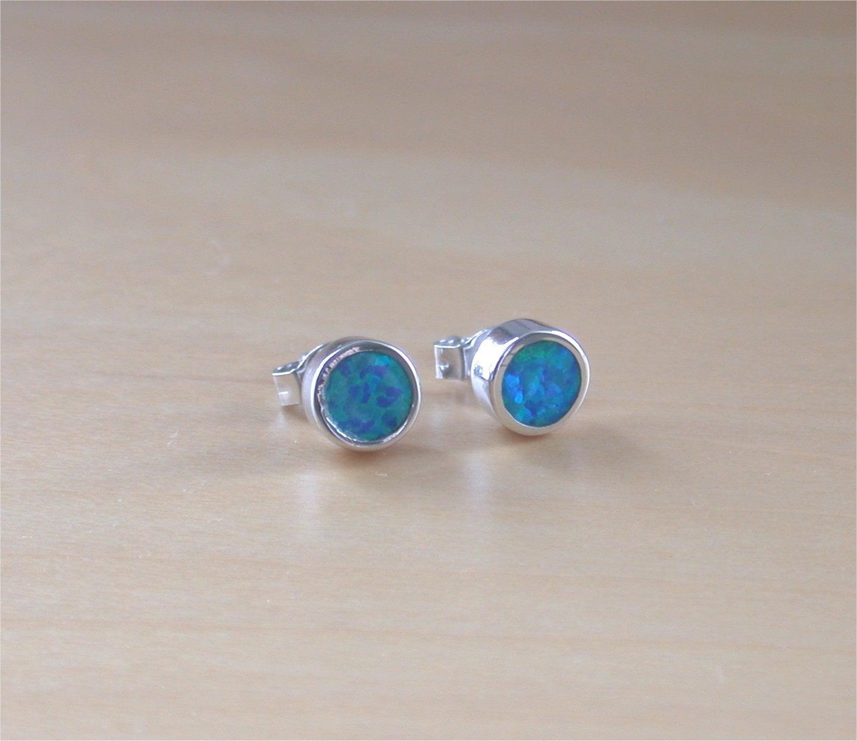 925 blue opal stud earrings 6mm blue opal stud earrings opal. Black Bedroom Furniture Sets. Home Design Ideas