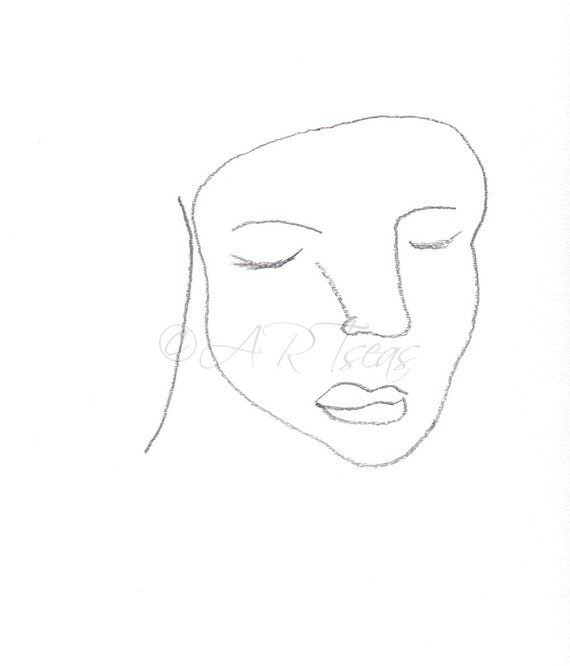 Abstract Face Line Drawing : Original abstract face pencil drawing minimalist female by