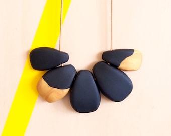 Dramatic black & gold polymer clay bib necklace