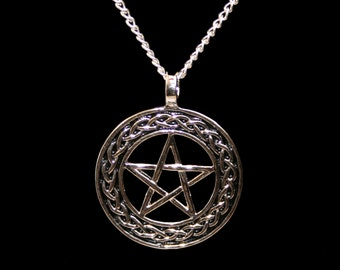 Handcrafted 'Knot work Pentacle' Pendant ~ Pentagram featuring Celtic knot work on a silver plated chain.