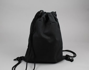 The Daniel Drawstring Backpack // Black Waxed Canvas Backpack/Tote with Rope Drawstring