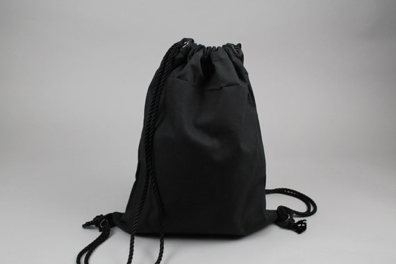 The Daniel Drawstring Backpack // Black Waxed Canvas