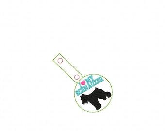 I Love My SCHNAUZER - In The Hoop - Snap/Rivet Key Fob - DIGITAL Embroidery Design