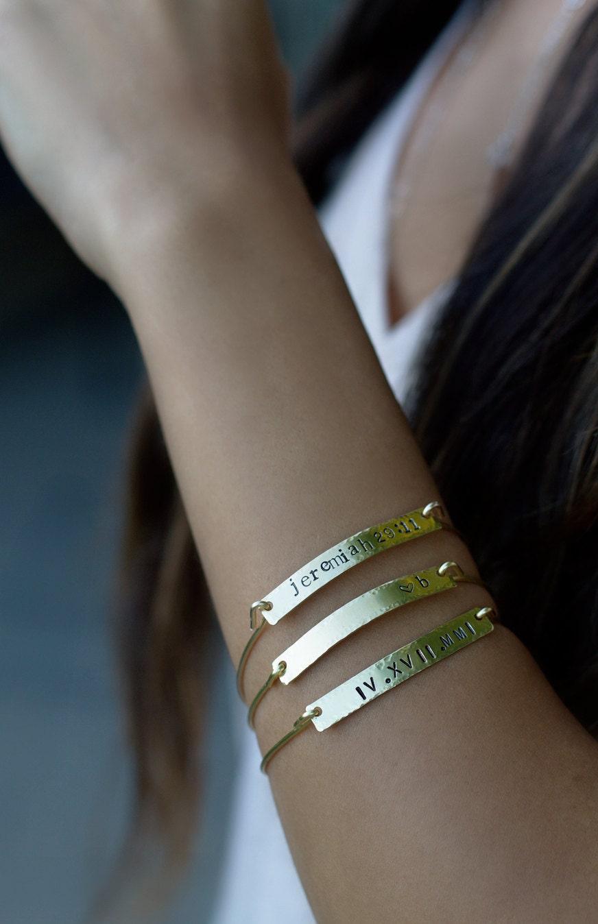 Gold Bar Bracelet, Roman Numerals, Brass Personalized Bracelet, Scripture Bracelet, Initial Bangle, Bridesmaid Bracelet