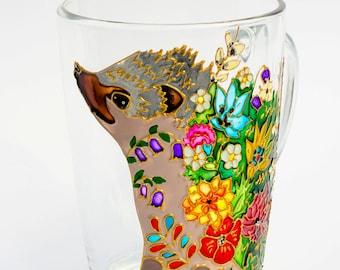Hedgehog Mug, Coffee Gift, Hedgie Woodland Animal,  Floral Mug, Personalized Gift, Funny mug Ready to Ship