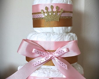 Custom Diaper Cake 3 Tier Pink/Gold Princess Crown