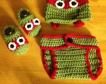TMNT Teenage Mutant Ninja Turtles inspired Diaper cover beanie set WITH SHOES  Photo Prop .. made to order