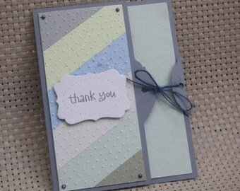 Thank You Card Made With 100% Recycled Paper - Blue/Green/Gray