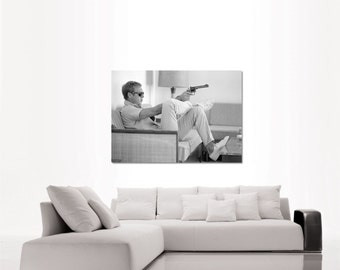 Steve McQueen King of Cool portrait top quality heavy paper poster print or canvas (up to A0 size) ideal gift for classic movie lovers