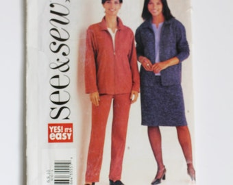 BUTTERICK 3630 WOMEN'S See & Sew Sewing Pattern Size 6 8 10 Misses Jacket Skirt Pants Zipped