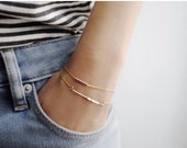 Layered Gold Bracelet Set - 14K Gold Bar Tube Bracelets - Layering Bracelet - Simple Minimalist Everyday Jewelry LITTIONARY