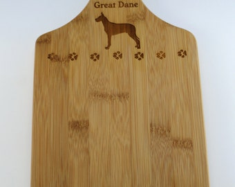 Great Dane and Pawprints Engraved Bamboo Cutting Board