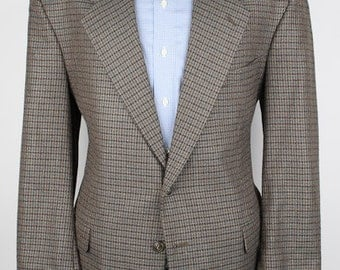 Brown Hounds Tooth Mens Tweed Jacket - Cellini Navy Plaid Wool Blend 44 R Mens Sport Coat Blazer